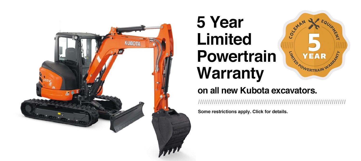 Coleman Equipment 5-Year Warranty on Kubota Excavators